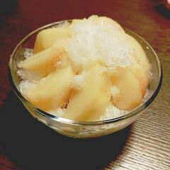 かき氷/家庭菜園/桃/自家製/スイーツ 自家製桃のたっぷりのせかき氷💕