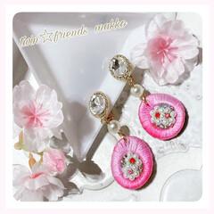 Happy/パール/刺繍糸/アクセサリー/イヤリング/桜色/... happyな気持ちになる為の物づくりを娘…
