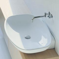 セラトレーディング/洗面ボウル/洗面台/洗面所/住まい/バスルーム/... 光まで柔らかく映す美しい曲線の洗面ボウル…