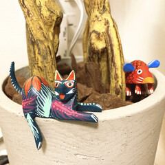動物モチーフ/メキシコ雑貨/植木鉢リメイク/動物モチーフグッズ 植木鉢に密かにいる メキシコで買ってきた…