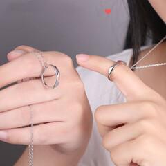 ペアネックレス/カップル/お揃い/ペアリング 指輪 ペアネックレス カップル シルバー925…