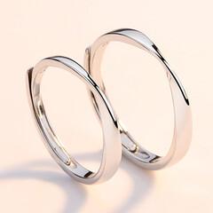 ペアリング/ペア お揃い/結婚指輪/彼氏/彼女 ペアリング シルバー 指輪 2個セット …