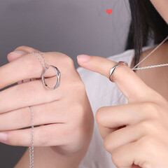 ペアネックレス カップル/指輪/お揃い ペアネックレス カップル シルバー 指輪…