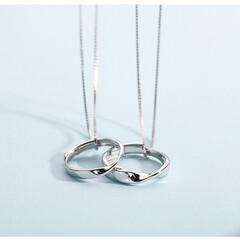 ペアネックレス/カップル/お揃い/指輪/プレゼント/記念日/... ペアネックレス ペアネックレス 2個セッ…