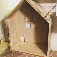 ダイソー/ナチュラル/ドールハウス風/家型BOX/木製ボックス/キッチンキッチン キッチンキッチンでお家型BOXを買ったの…