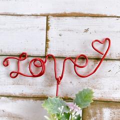 love/ワイヤー/ワイヤーアート/置物/ハンドメイド/手作り/... コルクの飾り11ワイヤーアートです。  …(4枚目)