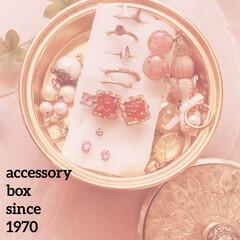 ピンク/アクセサリーボックス/アンティーク/母からのプレゼント/45年前の!/可愛い/... お気に入りアクセサリーボックスは、わたし…