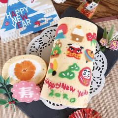 ロールケーキ/お正月/手作りケーキ/お正月2020/キッチン 🐭🎍HAPPY  NEW  YEAR🎍🐭…(1枚目)