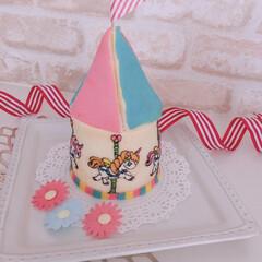 cake/sweets/手作りスイーツ/手作りケーキ/お菓子作り/デコケーキ/... メリーゴーランドケーキ作ってみました。 …