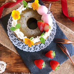 シフォンケーキ/手作りケーキ/おやつタイム/お菓子作り/スイーツ/おうちカフェ/... 抹茶シフォンケーキ焼きました🎵 娘の好き…