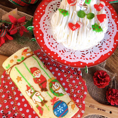 お菓子作り/手作りケーキ/クリスマス/クリスマスパーティー/ハンドメイド クリスマスのスイーツ🍰 頑張りましたが思…