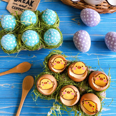 プリン/スイーツ/手作りスイーツ/お菓子作り/Homemade/手作りおやつ/... ひよこプリン作りました🐣💕💕  卵の殻を…