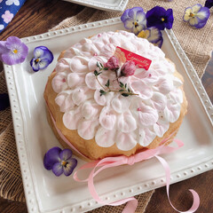 さくら/手作りお菓子/手作りおやつ/スイーツ/スイーツ作り/ミルクレープ/... 息子の好きなクレープのケーキ作りました。…