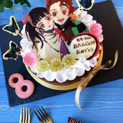 誕生日/誕生日ケーキ/キャラケーキ/キャラクターフード/ガトーショコラ/Homemade/... お友達の子供ちゃんのお誕生日ケーキ🎶 8…
