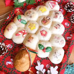 クリスマスパーティー/パン/ちぎりパン/手作りパン/クリスマスツリー/クリスマス2019 ツリーパン🎄 子供がパクパク食べてくれま…
