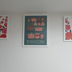 IKEA/イケア/北欧/北欧インテリア キッチンの背面収納の壁が殺風景なので イ…