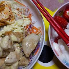 乳製品/いちご/晩御飯/暮らし 鶏肉のマスタードマヨネーズ和え、サラダ、…