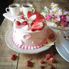 手作りお菓子/ひな祭り/ピンク/ダイソー/セリア/100均/... 🌸桜と苺のショートケーキ   ふわふわの…(2枚目)