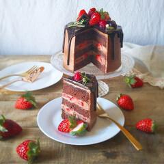 チョコレートケーキ/ドリップケーキ/naturalkitchen/手づくりお菓子/バレンタイン2020/キッチン雑貨/... 🍫チョコレートケーキ  レシピ本片手に四…(5枚目)