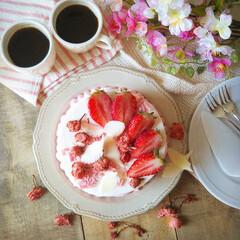 手作りお菓子/ひな祭り/ピンク/ダイソー/セリア/100均/... 🌸桜と苺のショートケーキ   ふわふわの…(3枚目)