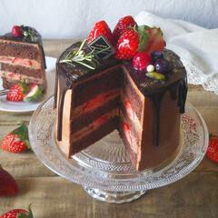 チョコレートケーキ/ドリップケーキ/naturalkitchen/手づくりお菓子/バレンタイン2020/キッチン雑貨/... 🍫チョコレートケーキ  レシピ本片手に四…(4枚目)