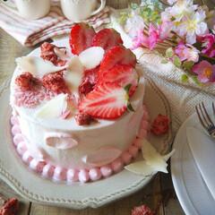 手作りお菓子/ひな祭り/ピンク/ダイソー/セリア/100均/... 🌸桜と苺のショートケーキ   ふわふわの…