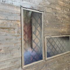 ガラスの代用で/勝手の良い倉庫/DIY 作り直し中の小屋?物置です 笑 低予算で…(4枚目)