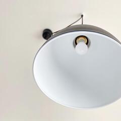 モノトーンインテリア/白黒インテリア/マイホーム/一戸建て/照明/ダイニング/... ダイニングテーブルの位置をずらしているの…