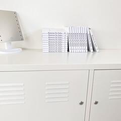 キャビネット/IKEAキャビネット/IKEA/整理収納/白黒インテリア/モノトーンインテリア/... 我が家の漫画本は携帯とプリンターで ブッ…