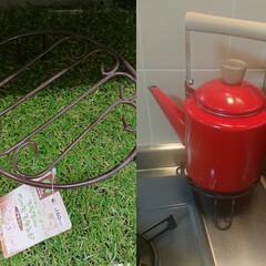 アイデア/やかん/キッチン/セリア/100均/最近買った100均グッズ ニトリで一目惚れして買った赤色のやかん。…