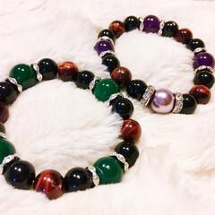 数珠ブレスレット/天然石/パワーストーン/ハンドメイドアクセサリー/母の日 今年の母の日に、両母に数珠ブレスレットを…