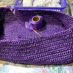 手編み/かぎ編み/お買い物バッグ/ハンドメイド お買い物バッグをリニューアルしたくて手編…