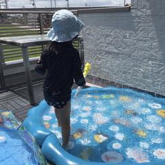 噴水マット/こどものいる暮らし/Amazon購入品/おうちプール/ビニールプール 【噴水マット】  子供用のビニールプール…