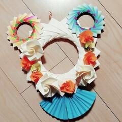お正月2020/お正月飾り/折り紙/包装紙/子どもと一緒に作れる/リース 家にあった折り紙や包装紙で作りました✨🐭…