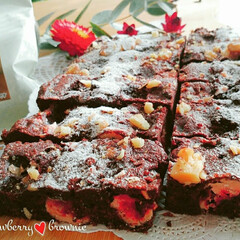 いちご/フリーズドライいちご/手作りスイーツ/ブラウニー/チョコレート 🔸チョコ&苺ブラウニー🔸  cacao5…