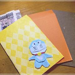 この一万円札の折り方にして財布に入.../折り紙/手作りぽち袋/100000000円/お正月2020