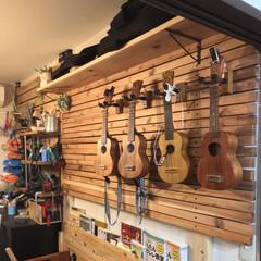 DIY/工具棚/ウクレレ/賃貸DIY/賃貸マンションDIY/100均 壁掛けのウクレレスタンドと工具棚です。 …(1枚目)