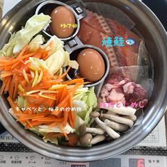 お鍋1つ/朝食/時短料理/無水調理/無水鍋/暮らし/... 無水鍋フライパン一つで朝食3人分のおかず…