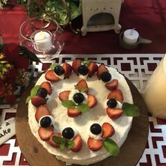 お家ケーキ/フードプロセッサー/無水鍋/手作りケーキ/キッチン雑貨/キッチン/... 無水鍋でスポンジケーキを作り簡単なデコレ…