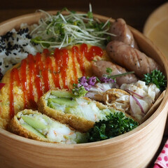 つくりおき/作り置き/和食/家庭料理/曲げわっぱ弁当/ランチボックス/... 旬の空豆は海老とコロッケにしましたよ〜😊…