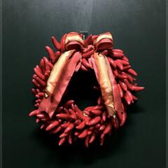 ヨーロッパテイスト/造花/アーティフィシャルフラワー/唐辛子/リース/クリスマス/... クリスマスの飾りを少しずつ出しています🎄…
