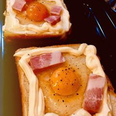お皿はSeria/朝食パン 専ら、朝ごはんはご飯派ですが、たまにはパ…