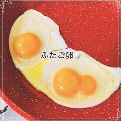 小さな幸せ/朝ごはん/オリーブオイル/卵料理/暮らし/節約/... 🍳目玉焼きを作るのに 卵を割ったらふたご…