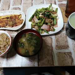 朝食/おうちごはん 今日の朝食です。  頑張りました!  生…