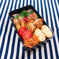 料理/ランチ/ランチボックス/おべんとう/お弁当/暮らし/... 昨日の夫弁当🍱 ◯鶏つくね ◯フライドポ…