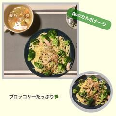 森のカルボナーラ/麺/グルメ/スパゲティ/野菜/カルボナーラ/... ブロッコリーがたっぷりと入ったカルボナー…