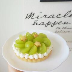 記念日ケーキ/ケーキ/マスカット/ヤマザキ/フルーツケーキ/フルーツタルト/... 記念日にマスカットタルトを作りました♩ …