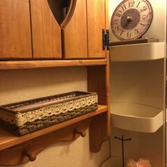 洗面台 ❤️くり抜きの飾り棚です^_^