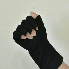 対策雑貨/対策/大豆繊維/UVケア/UVカット/日焼け対策/... 指切タイプのUV手袋 どれくらい指が出る…(3枚目)