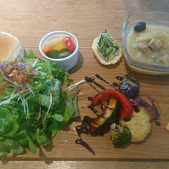 ナチュラル/バルサミコ酢/野菜たっぷり/ブラックボード/つくば市/カフェ/... 🍴😊おひとりさまランチ😊🍴  バルサミコ…